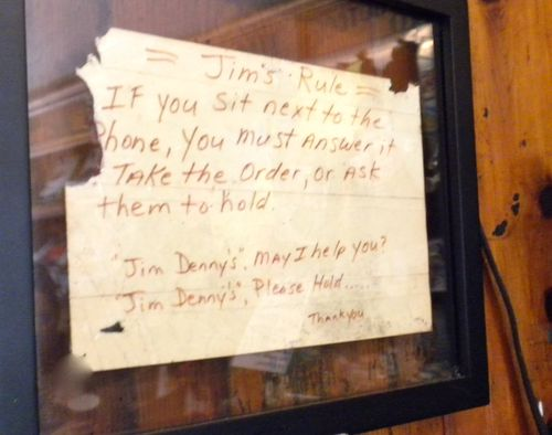 Home-made sign inside Jim-Denny's